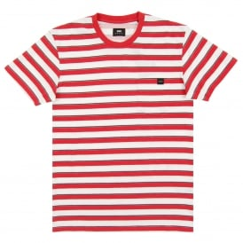 Pocket T-Shirt Striped White Washed Red