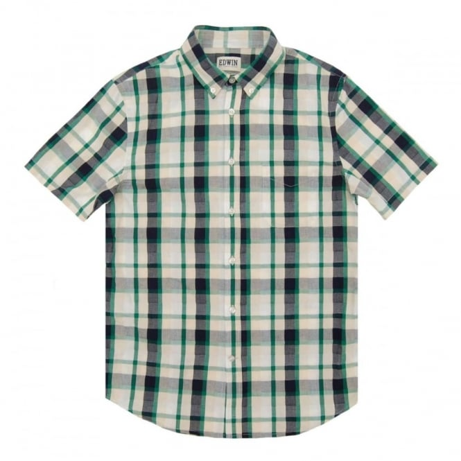Edwin Standard SS Check Shirt Green Navy