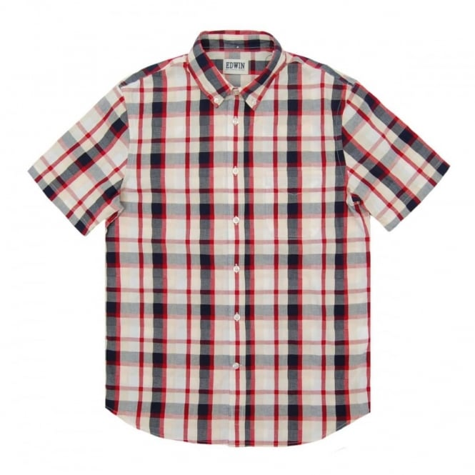 Edwin Standard SS Check Shirt Red Navy