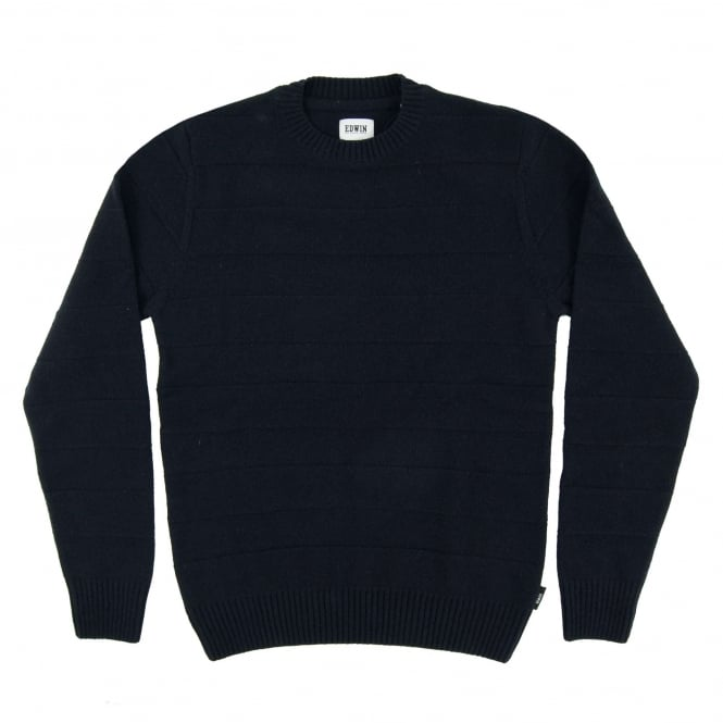 Edwin Standard Stripes Sweater Lambswool Navy