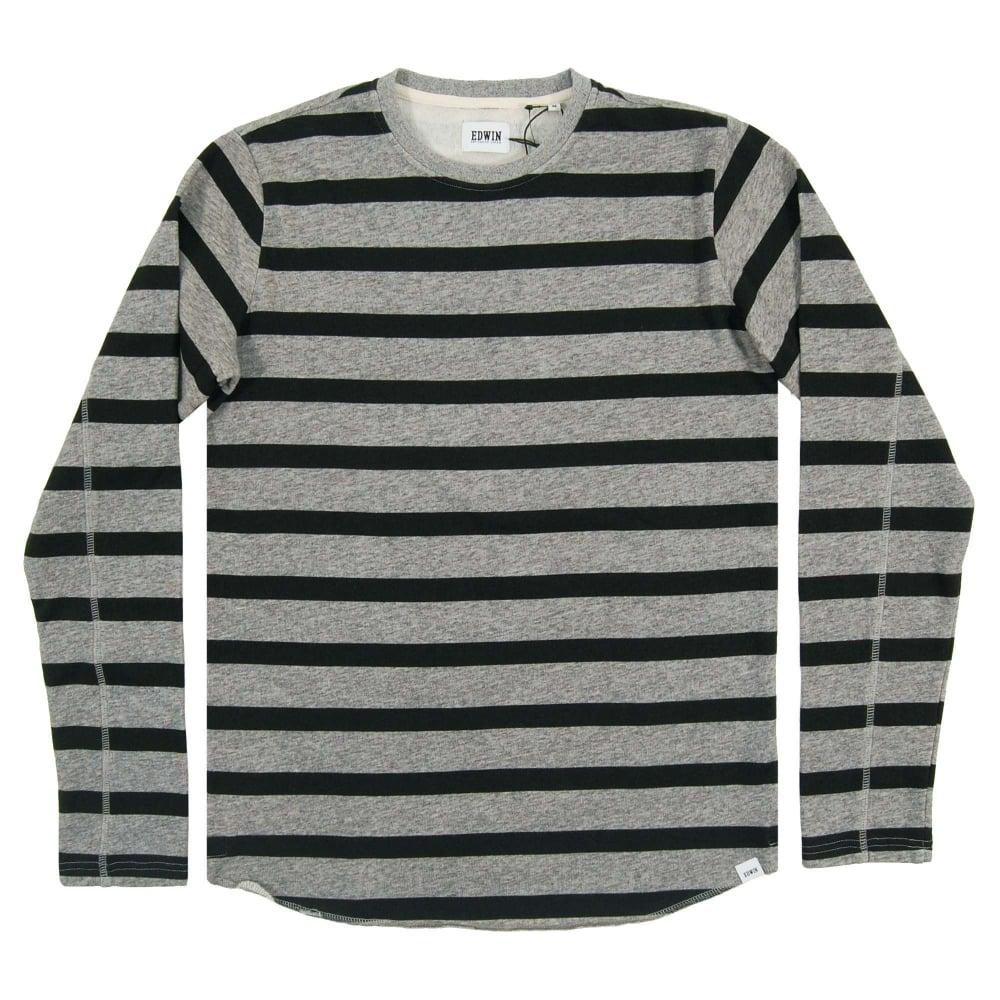 740433f0f1c4c Edwin Terry Stripe Tee Long Sleeve Dark Grey Black - Mens Clothing ...