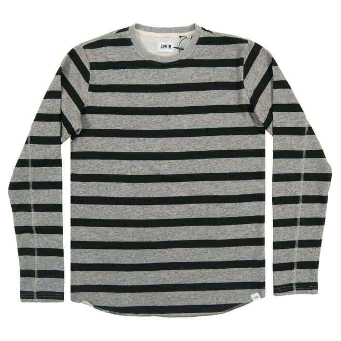 Edwin Terry Stripe Tee Long Sleeve Dark Grey Black