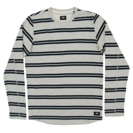Terry Stripe Tee Long Sleeve Grey Marl Navy