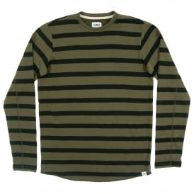 Terry Stripe Tee Long Sleeve Olive Drab Black