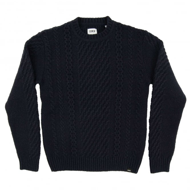 Edwin United Cable Jumper Navy
