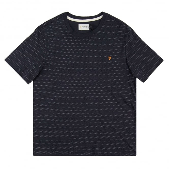 Farah Aidan Dot Stripe T-Shirt True Navy