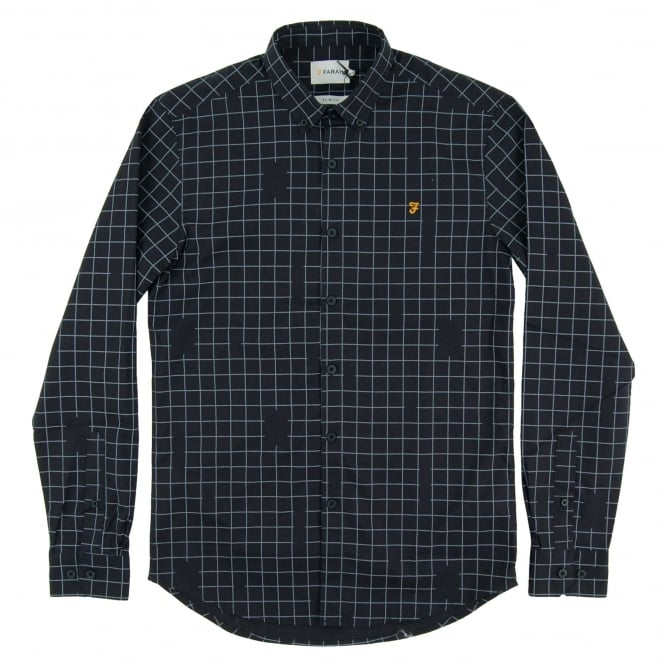 Farah Barcombe Check Shirt True Navy