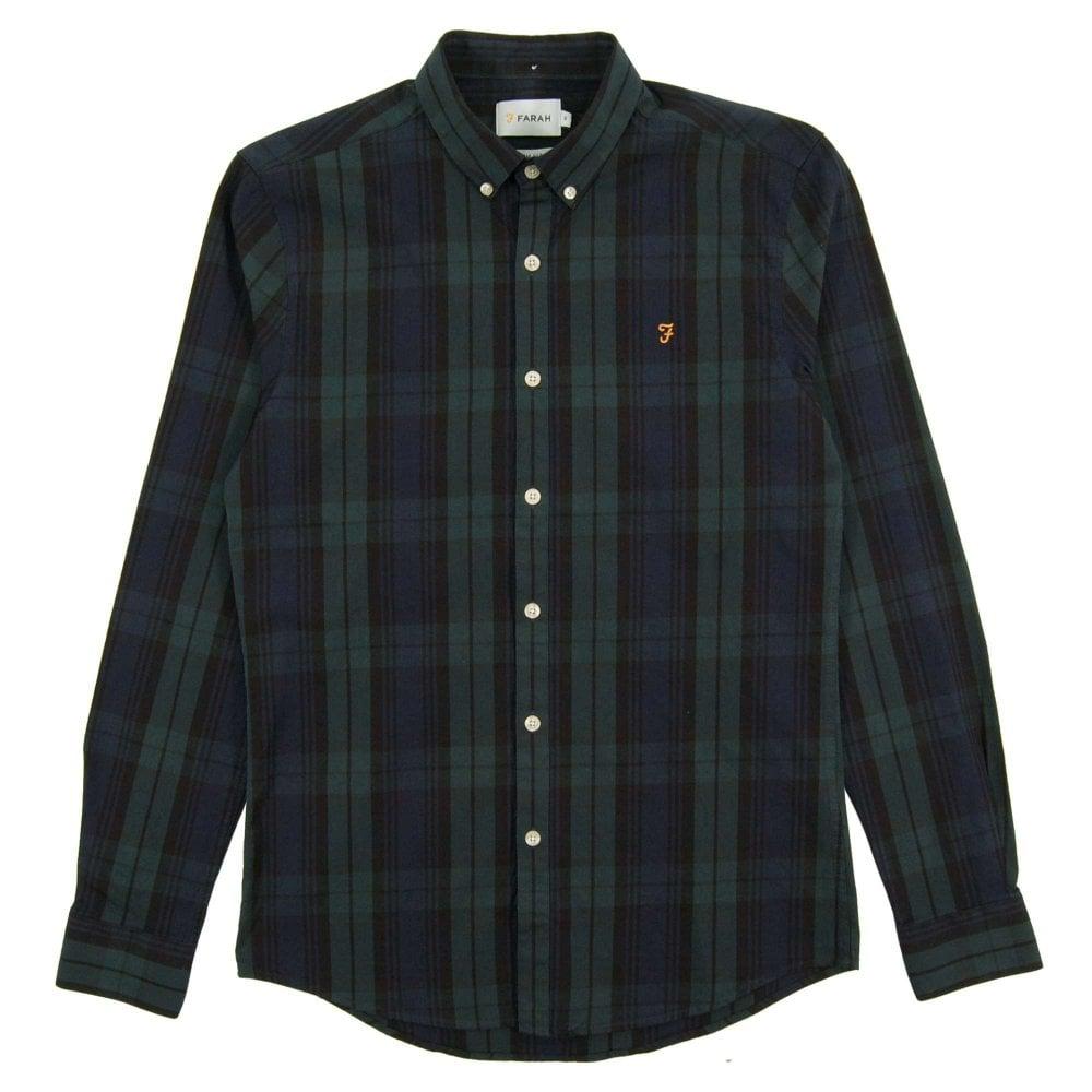 ddf65f66df6 Farah Brewer Black Watch Oxford Shirt Gillespie Green - Mens ...