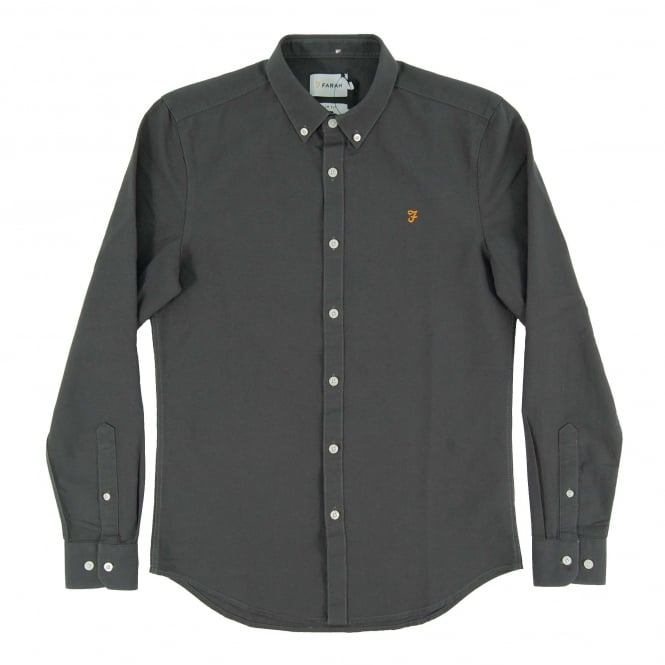 Farah Brewer Oxford Shirt Asphalt