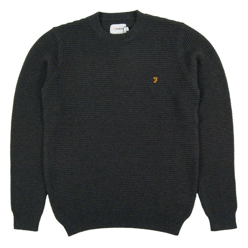 b3d2a8eaff973 Farah Calum Texture Stripe Jumper Black Marl - Mens Clothing from ...