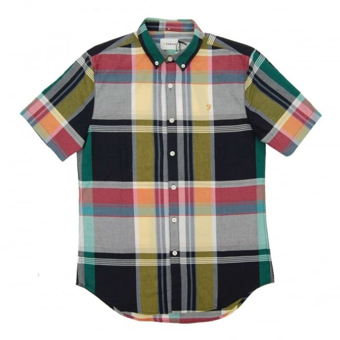 Farah Croxted SS Check Shirt True Navy