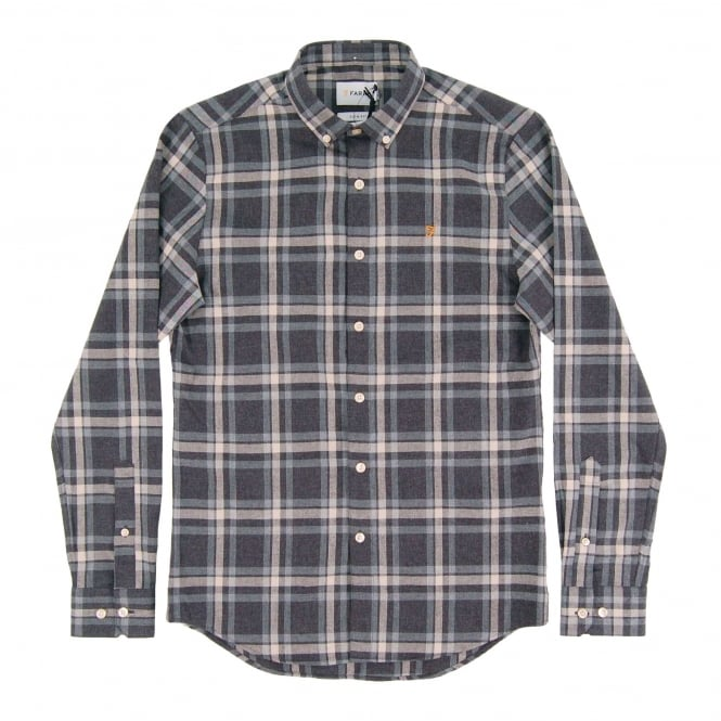 Farah Fal Check Flannel Shirt Coal