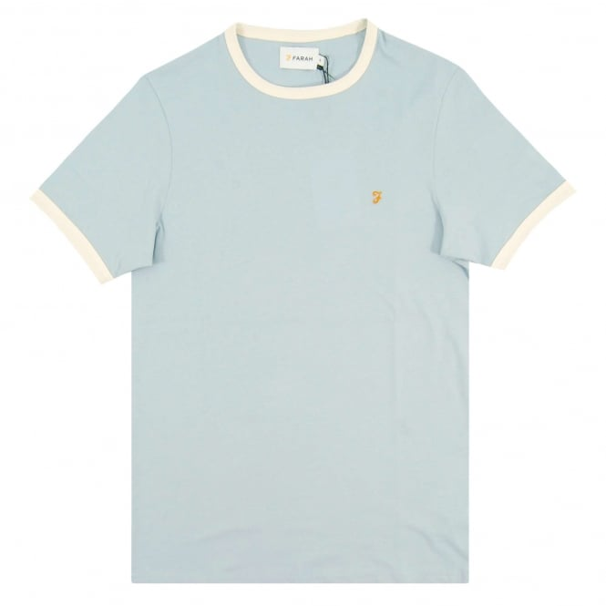Farah Groves Ringer T-Shirt Lake Blue Ecru
