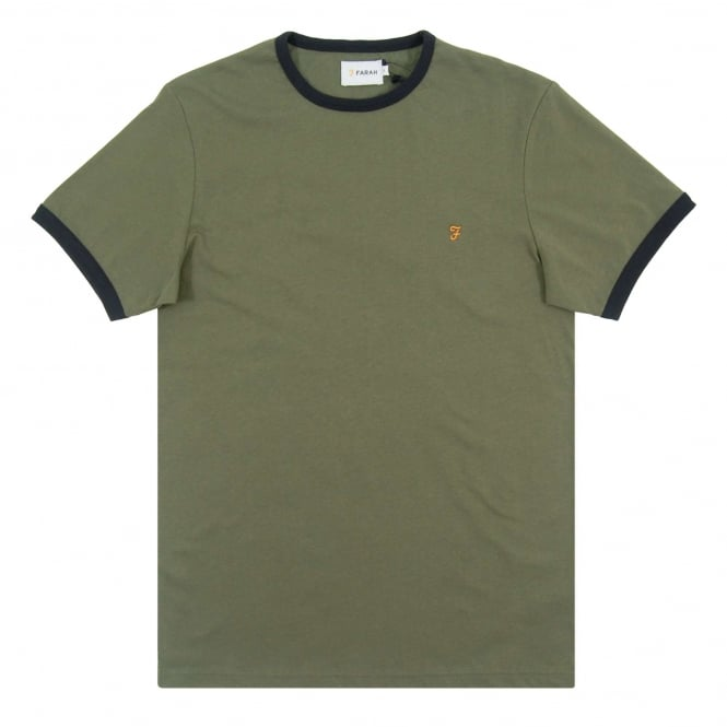 Farah Groves Ringer T-Shirt Military Green True Navy
