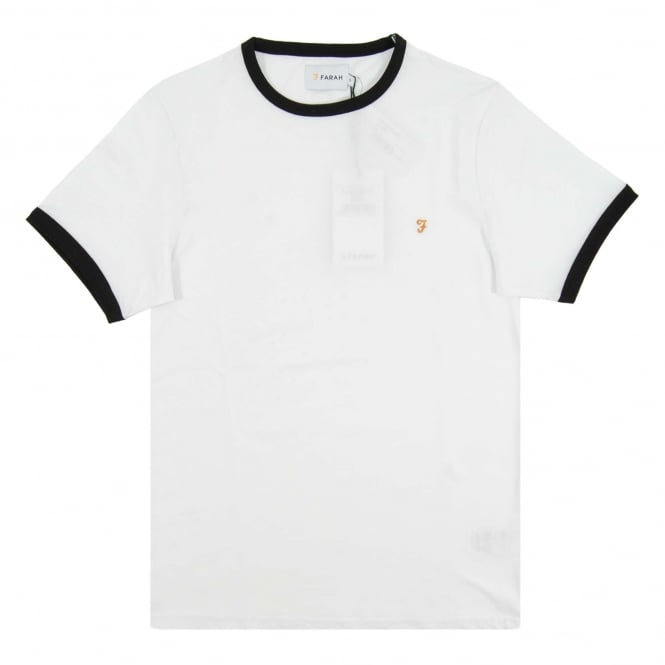 Farah Groves Ringer T-Shirt White Black