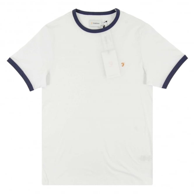 Farah Groves Ringer T-Shirt White Ink Blue