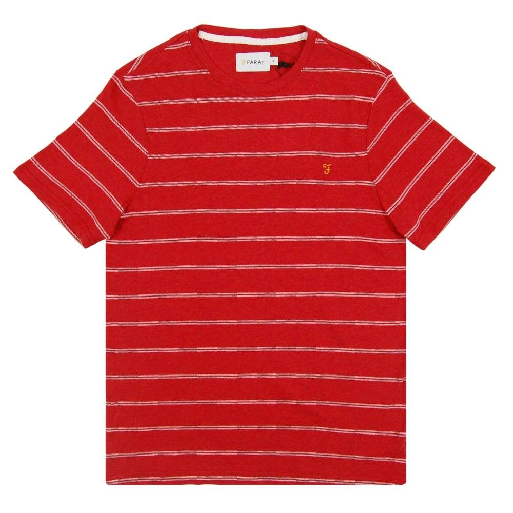 Farah hamilton stripe t shirt deep red marl mens