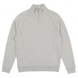 Jim 1/4 Zip Sweat Light Grey Marl