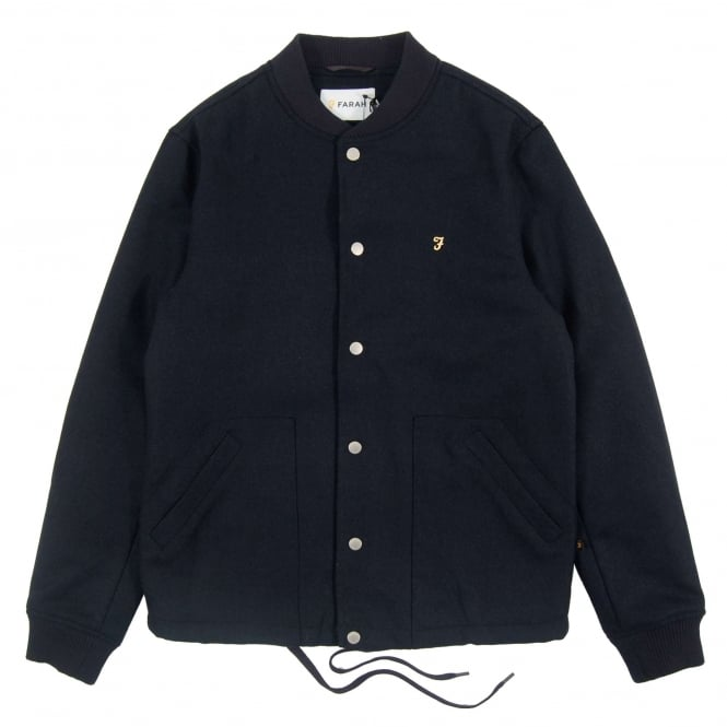 Farah Leinster Wool Bomber Jacket True Navy