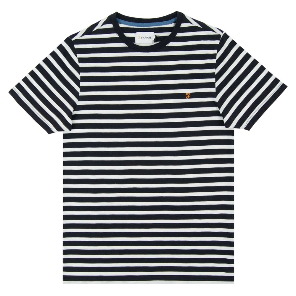 Farah Lennox Stripe T Shirt White Navy Mens Clothing