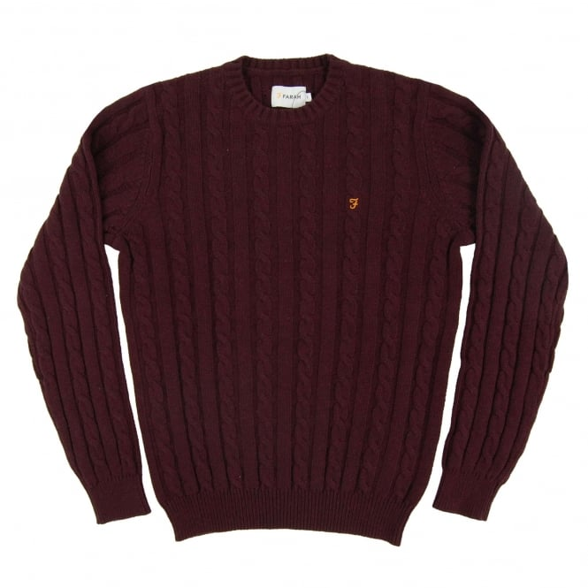 Farah Norfolk Cable Jumper Bordeaux