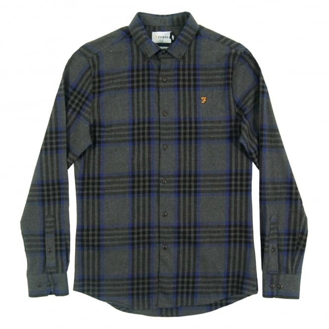 Farah Port Check Shirt Grey Marl