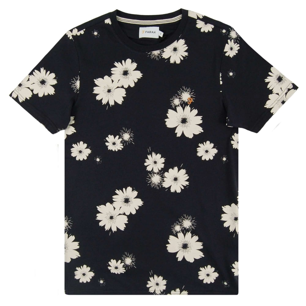 Farah ragworth floral t shirt true navy mens clothing for Floral mens t shirts