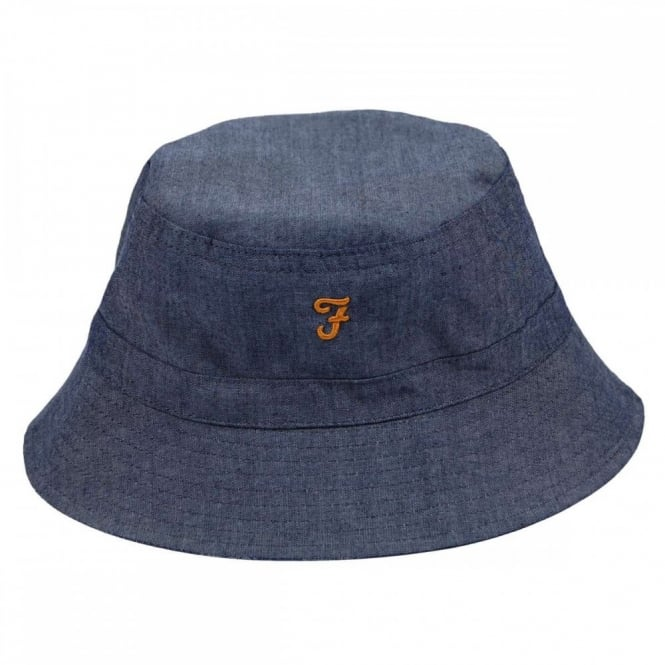 4fafb3683838a Farah Reversible Bucket Hat Dark Chambray - Mens Clothing from Attic ...