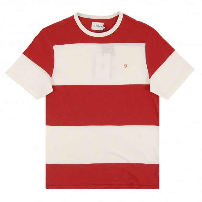 Farah Woolacombe Stripe T-Shirt Washed Red