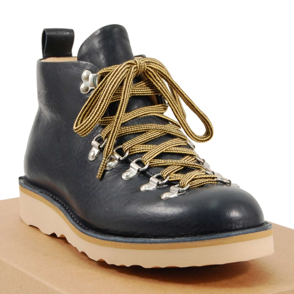 58f5e6e6eef Fracap Boots M120 Scarponcino Navy Leather Natural Vibram Sole
