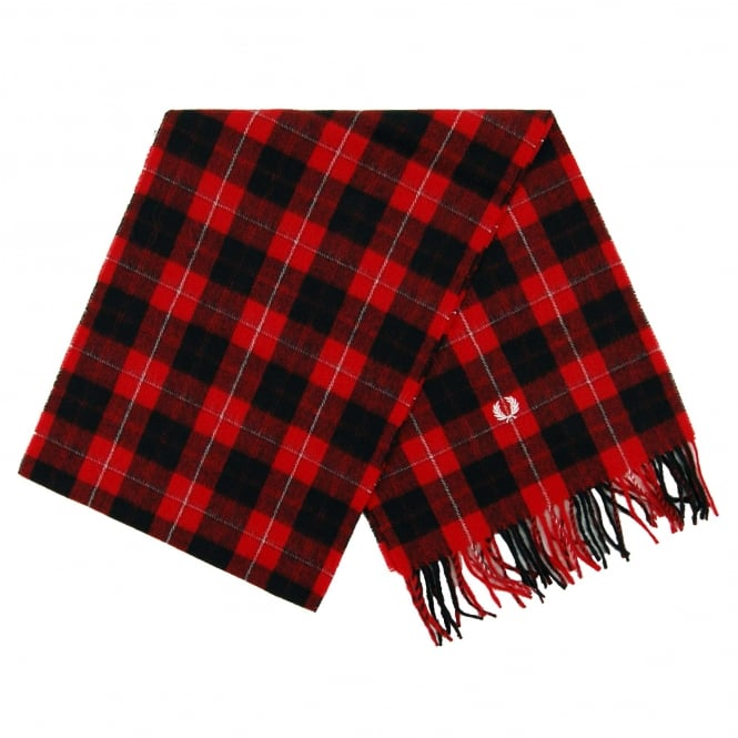 Fred Perry C9117 Cunningham Tartan Scarf Red