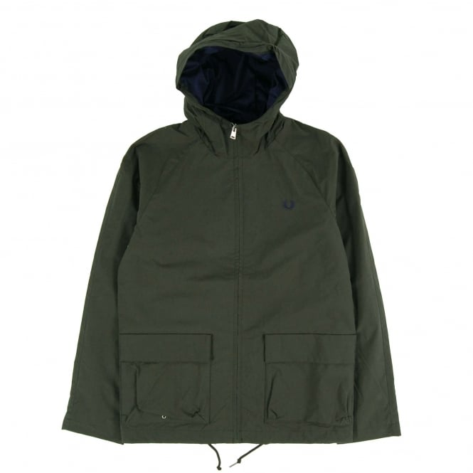 Fred Perry J1509 Austin Hooded Zip Through Jacket Hunting Green