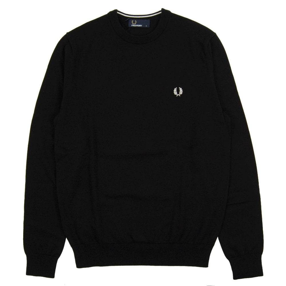 replicas cheap price buy best Fred Perry K5523 Classic Crew Neck Jumper Black