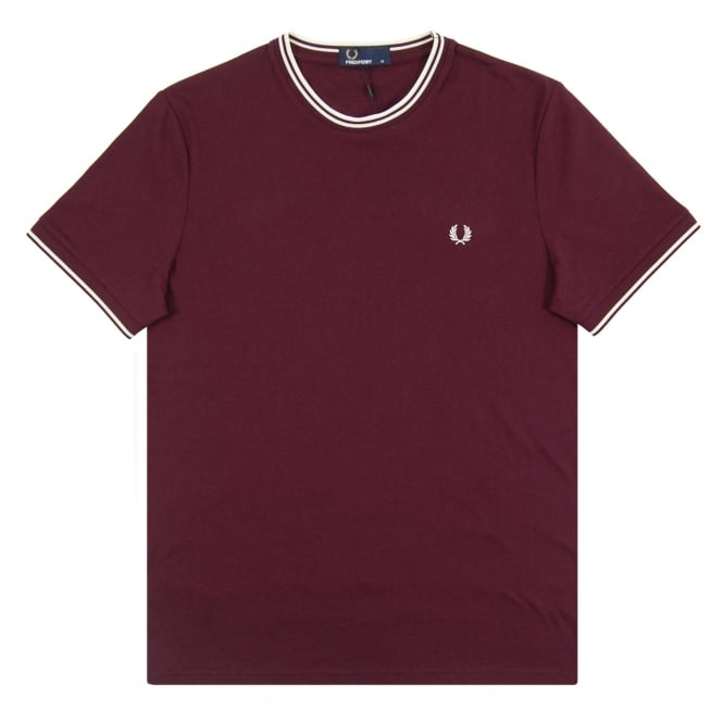 Fred Perry M1588 Twin Tip T-Shirt Bramble Snow White Ecru