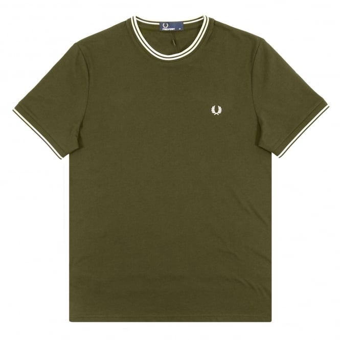 Fred Perry M1588 Twin Tip T-Shirt Iris Leaf Snow White Ecru
