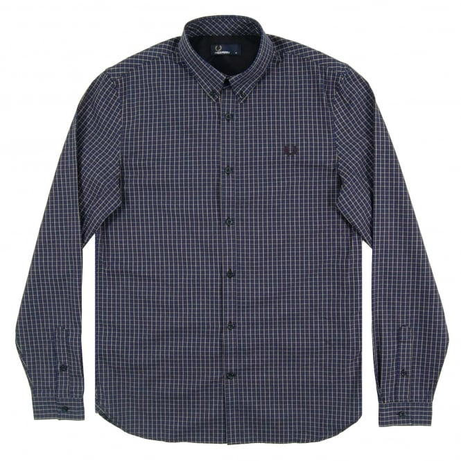 Fred Perry M2500 3 Colour Basketweave Shirt Medieval Blue