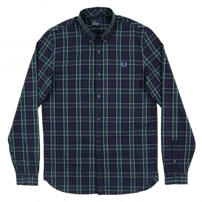 Fred Perry M2566 Enlarged Tartan Shirt Navy Green
