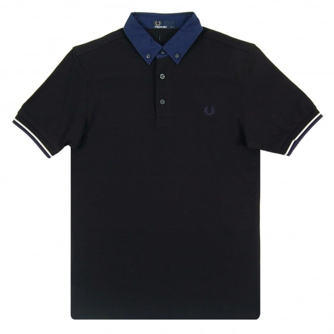 Fred Perry M2577 Woven Collar Polo Black