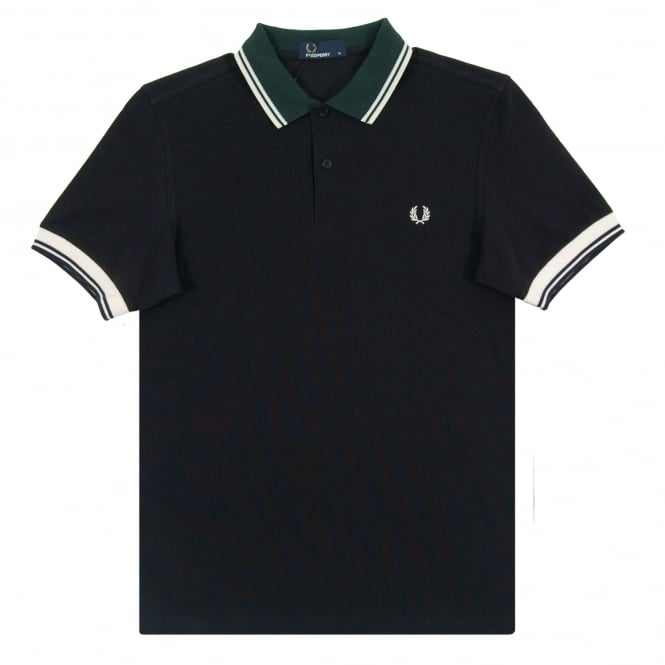 Fred Perry M2585 Ribbed Trim Polo Navy