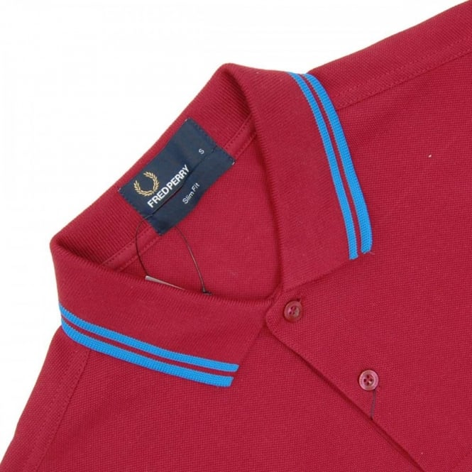 Fred Perry M3600 Twin Tipped Fred Perry Polo Rosso Clear Blue