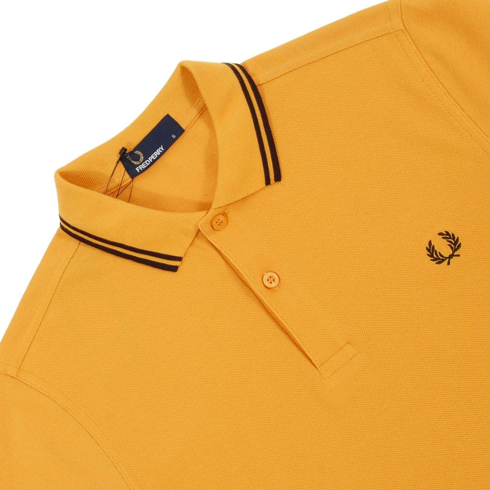 02c63d534 Fred Perry M3600 Twin Tipped Polo Amber Black - Mens Clothing from ...