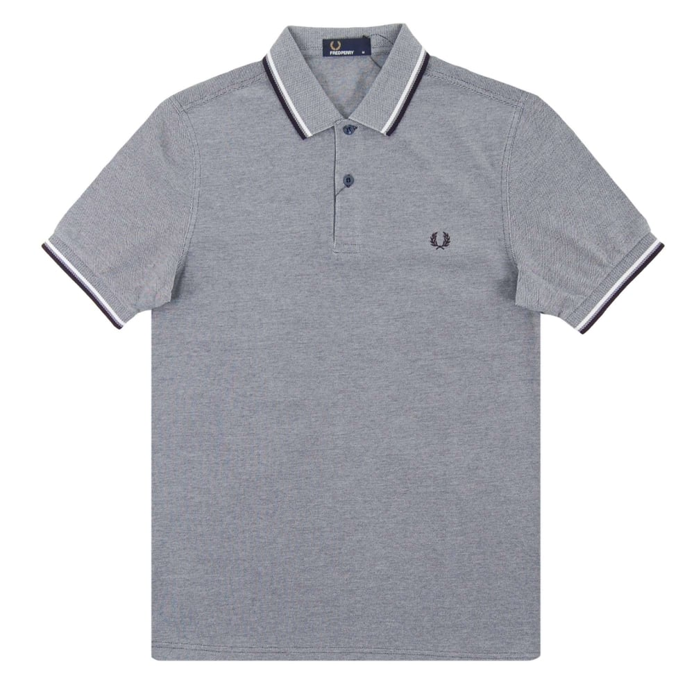 1b078be9a Fred Perry M3600 Twin Tipped Polo Carbon Blue Oxford White Navy ...