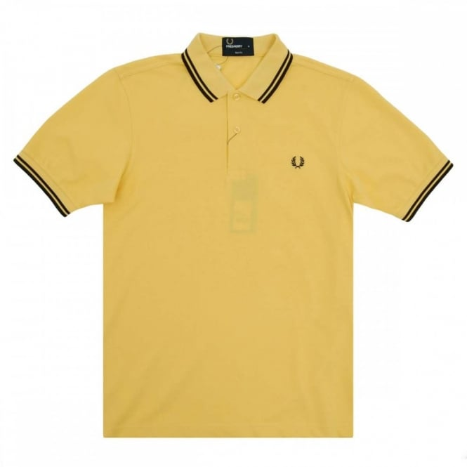 6e2f6a837 Fred Perry M3600 Twin Tipped Polo Cornsilk Yellow Black - Mens ...