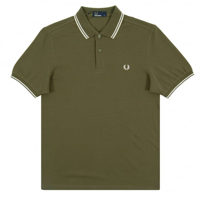 Fred Perry M3600 Twin Tipped Polo Iris Leaf Snow White Ecru