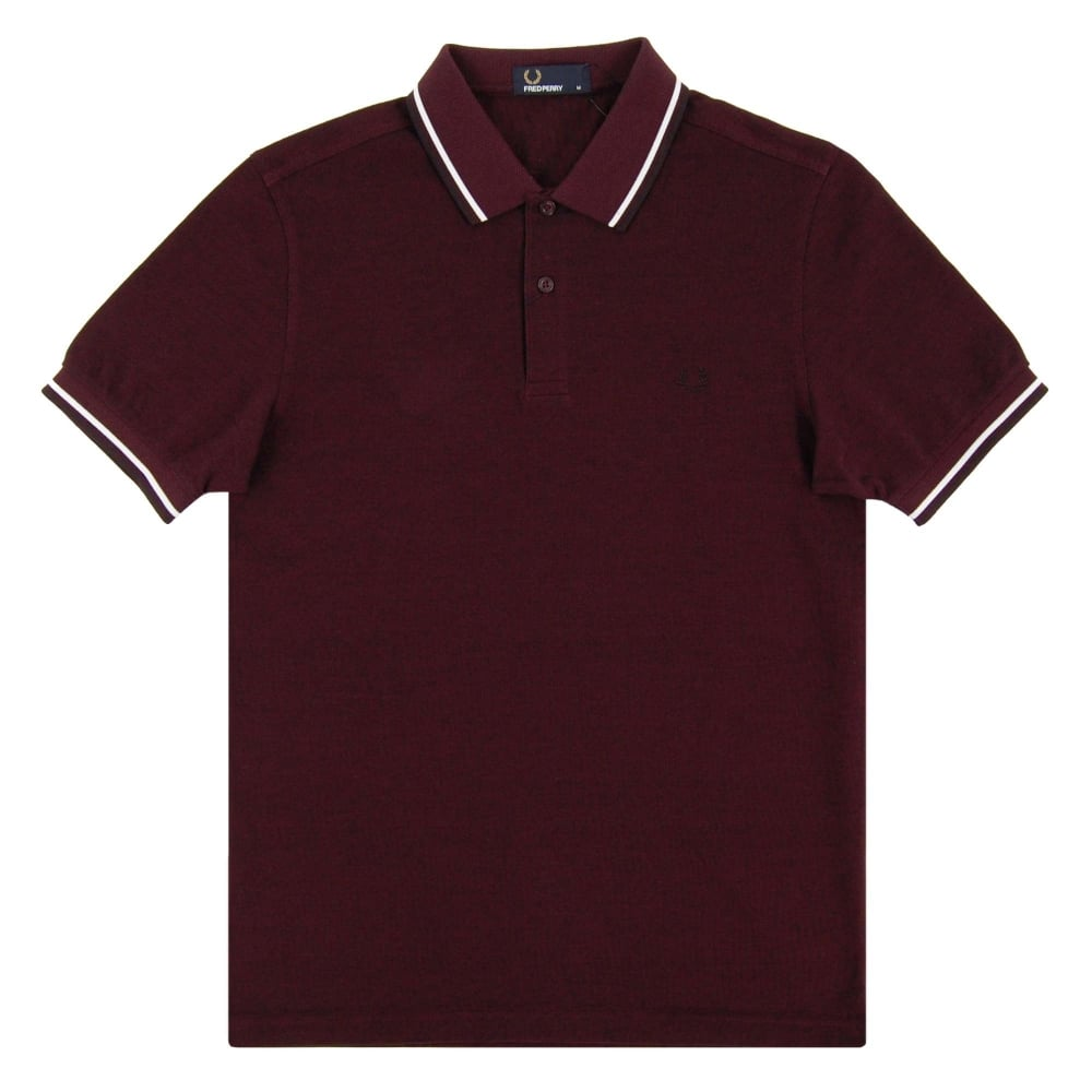 10ae031dc Fred Perry M3600 Twin Tipped Polo Mahogany Black Oxford White Black ...