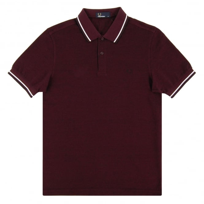 Fred Perry M3600 Twin Tipped Polo Mahogany Black Oxford White Black