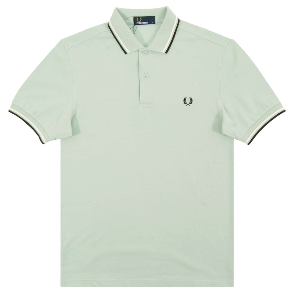 d7650d69 Fred Perry M3600 Twin Tipped Polo Mint Snow White Black - Mens ...