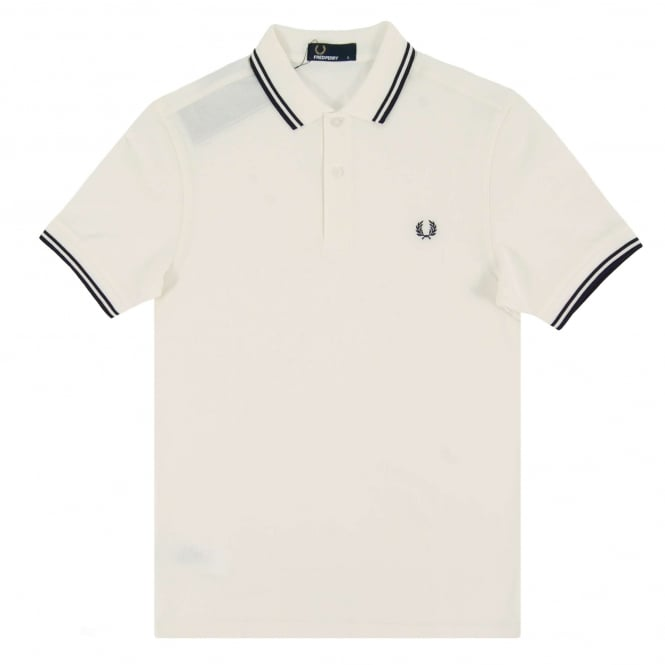 Fred Perry M3600 Twin Tipped Polo Snow White Carbon Blue