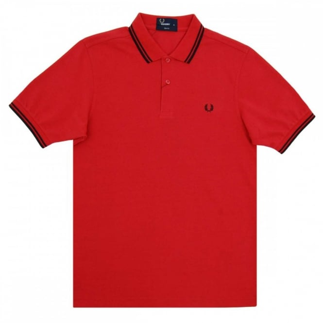 87944152f Fred Perry M3600 Twin Tipped Polo Washed Red Black - Mens Clothing ...
