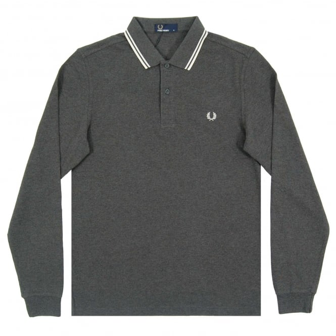 Fred Perry M3636 LS Twin Tipped Polo Graphite Snow White Ecru
